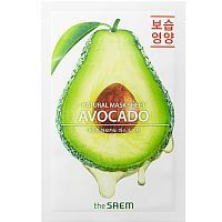 The Saem Natural Avocado Mask Sheet Тканевая маска с экстрактом авокадо 21мл
