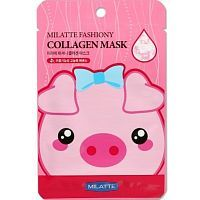 Milatte Fashiony Collagen Mask Sheet Тканевая маска для лица с коллагеном 21г